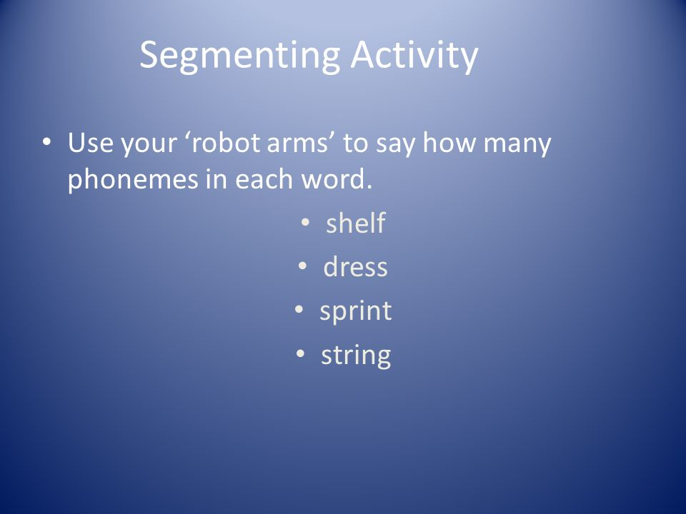 Segmenting Activity Use your 'robot arms' to say how many phonemes in each word. shelf. dress. sprint.