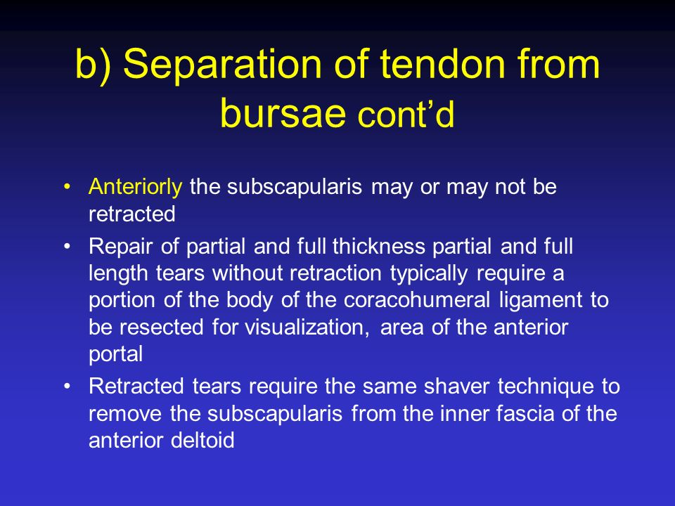 b) Separation of tendon from bursae cont'd