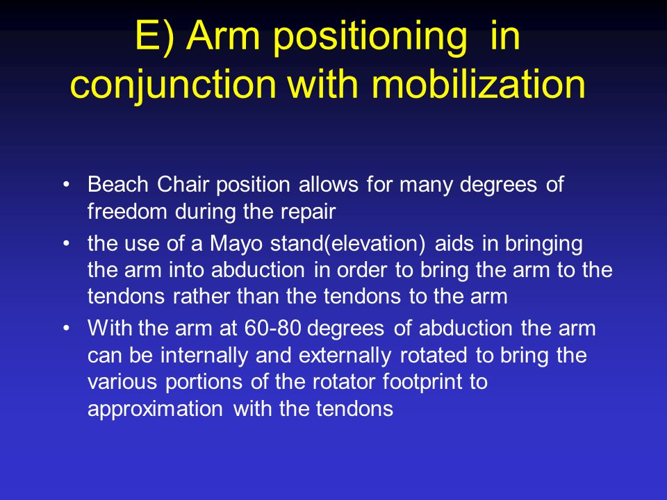 E) Arm positioning in conjunction with mobilization