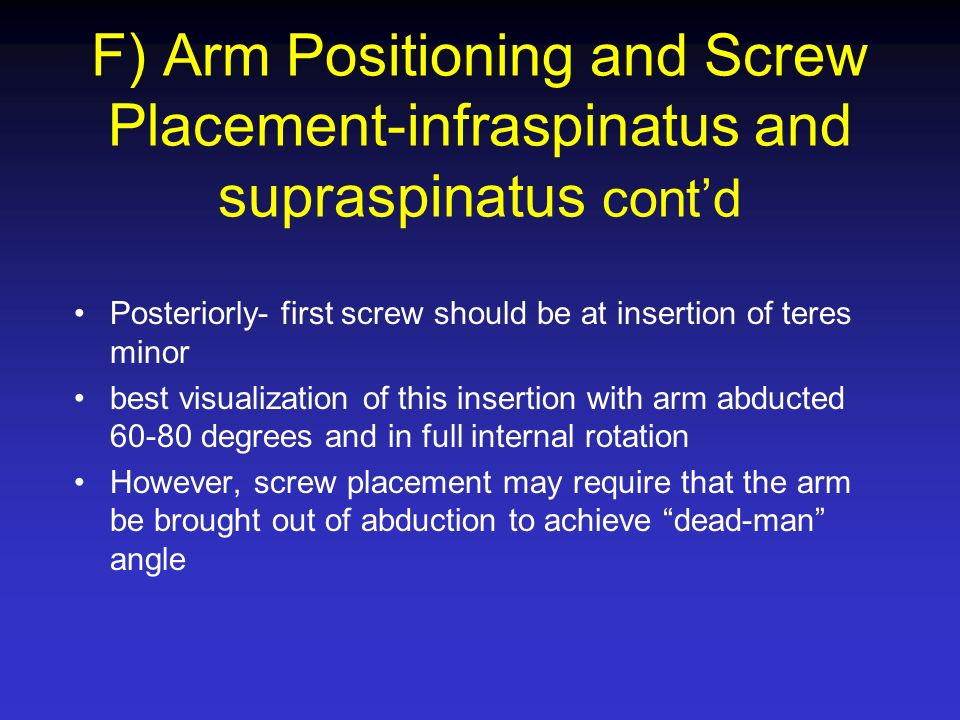 F) Arm Positioning and Screw Placement-infraspinatus and supraspinatus cont'd