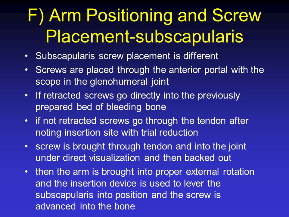 F) Arm Positioning and Screw Placement-subscapularis