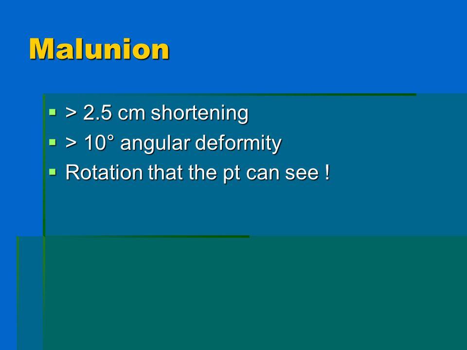 Malunion > 2.5 cm shortening > 10° angular deformity
