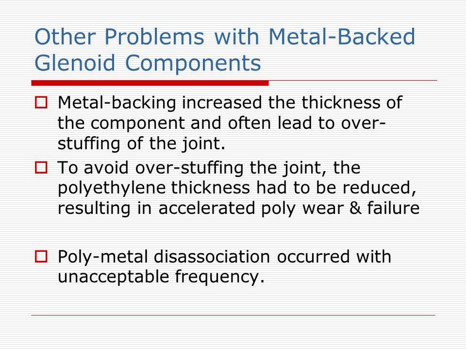 Other Problems with Metal-Backed Glenoid Components