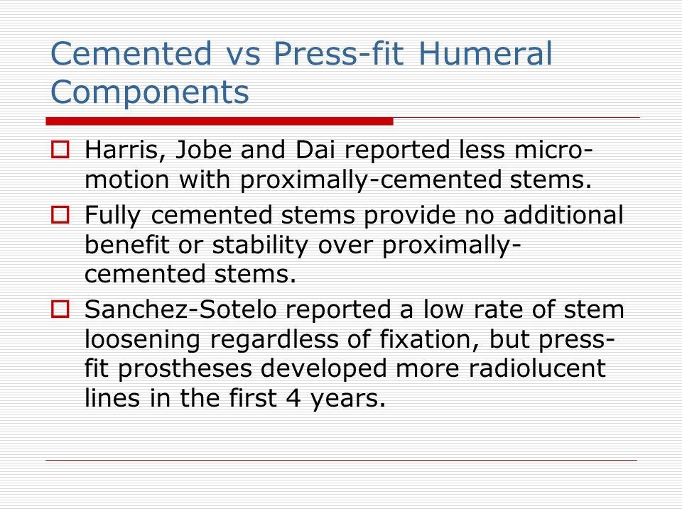 Cemented vs Press-fit Humeral Components