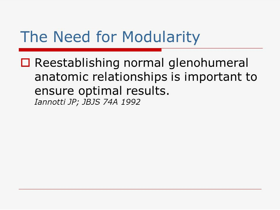The Need for Modularity