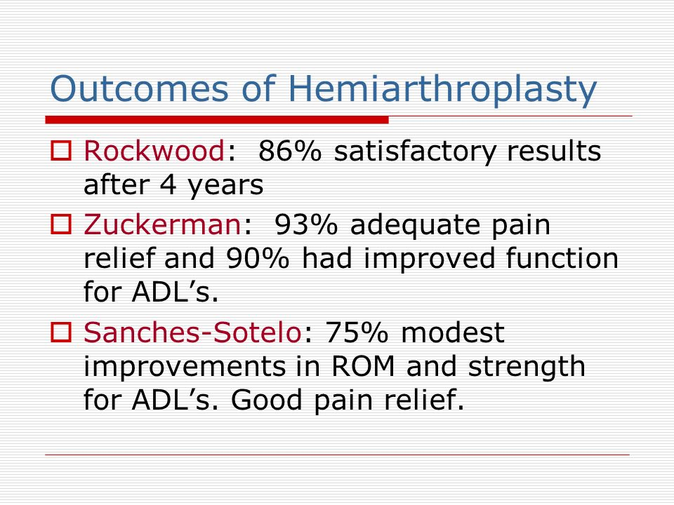 Outcomes of Hemiarthroplasty