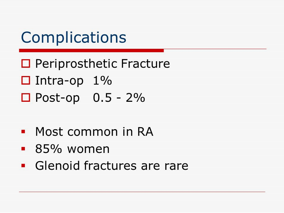 Complications Periprosthetic Fracture Intra-op 1% Post-op 0.5 - 2%