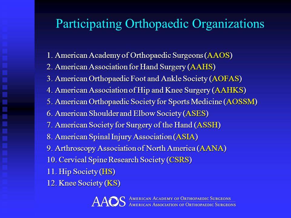 Participating Orthopaedic Organizations