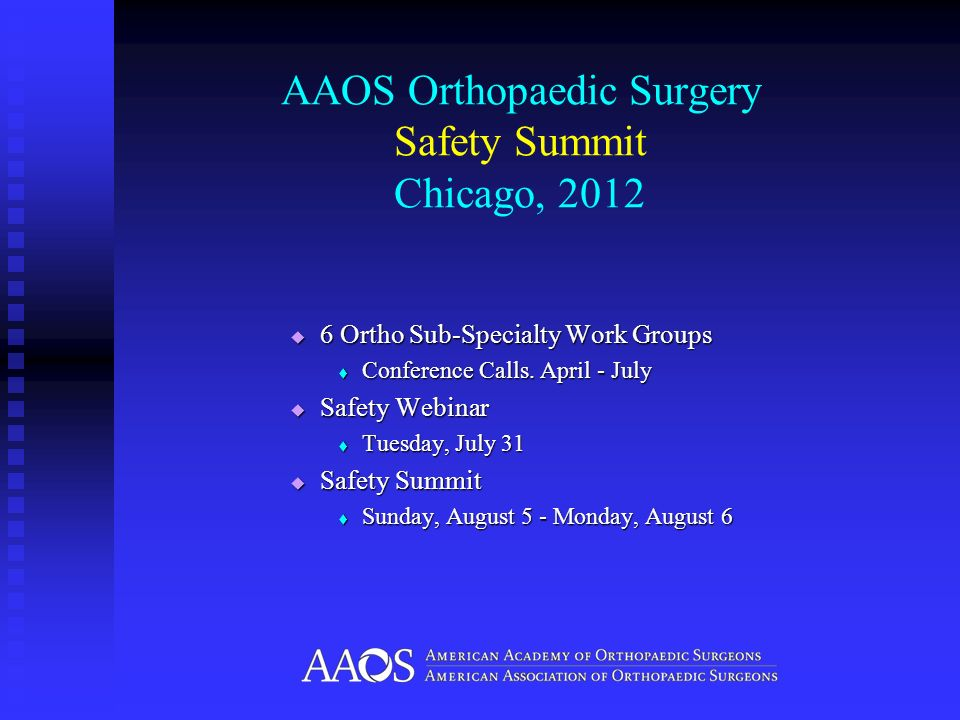 AAOS Orthopaedic Surgery Safety Summit Chicago, 2012