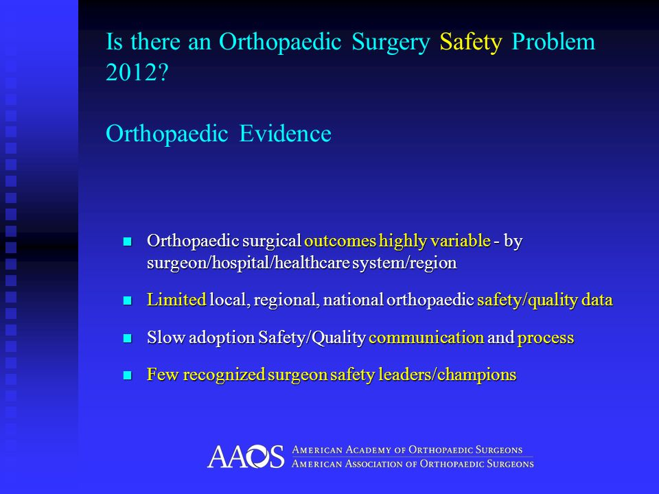 Is there an Orthopaedic Surgery Safety Problem 2012