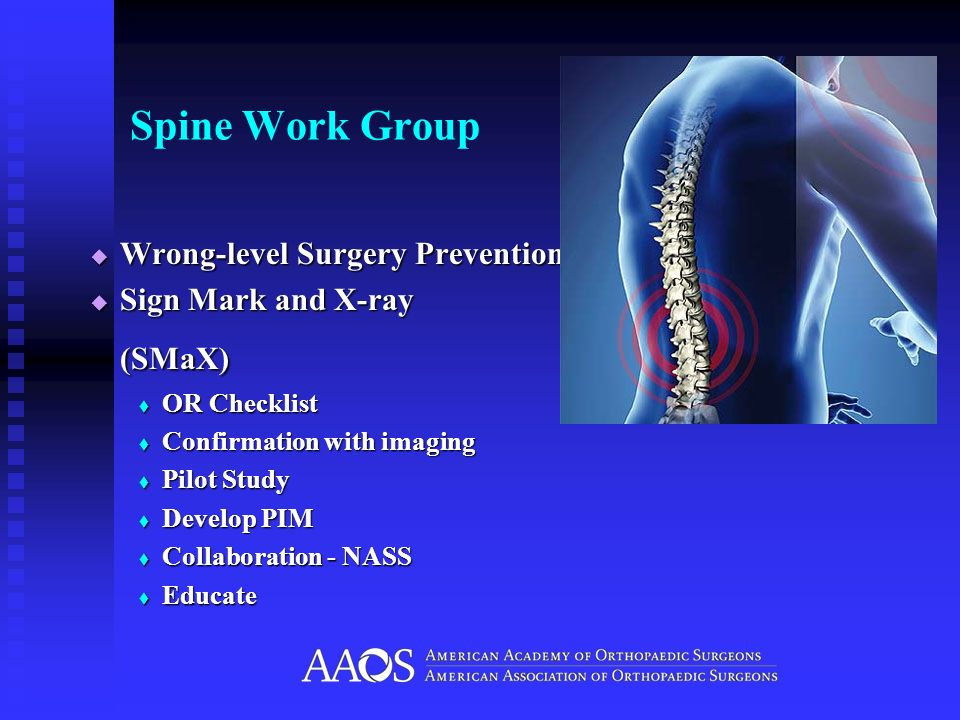 Spine Work Group (SMaX) Wrong-level Surgery Prevention