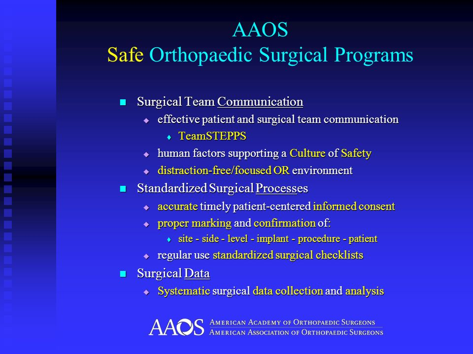 AAOS Safe Orthopaedic Surgical Programs