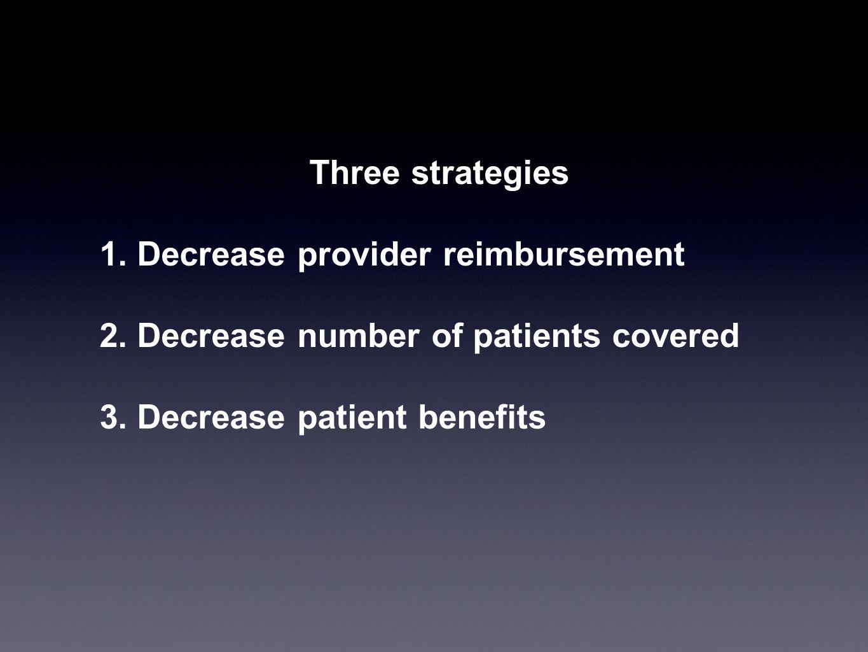Three strategies1.Decrease provider reimbursement.
