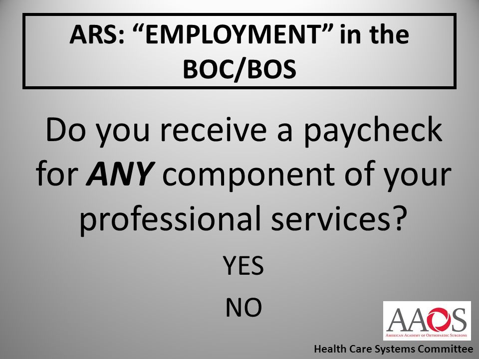 ARS: EMPLOYMENT in the BOC/BOS