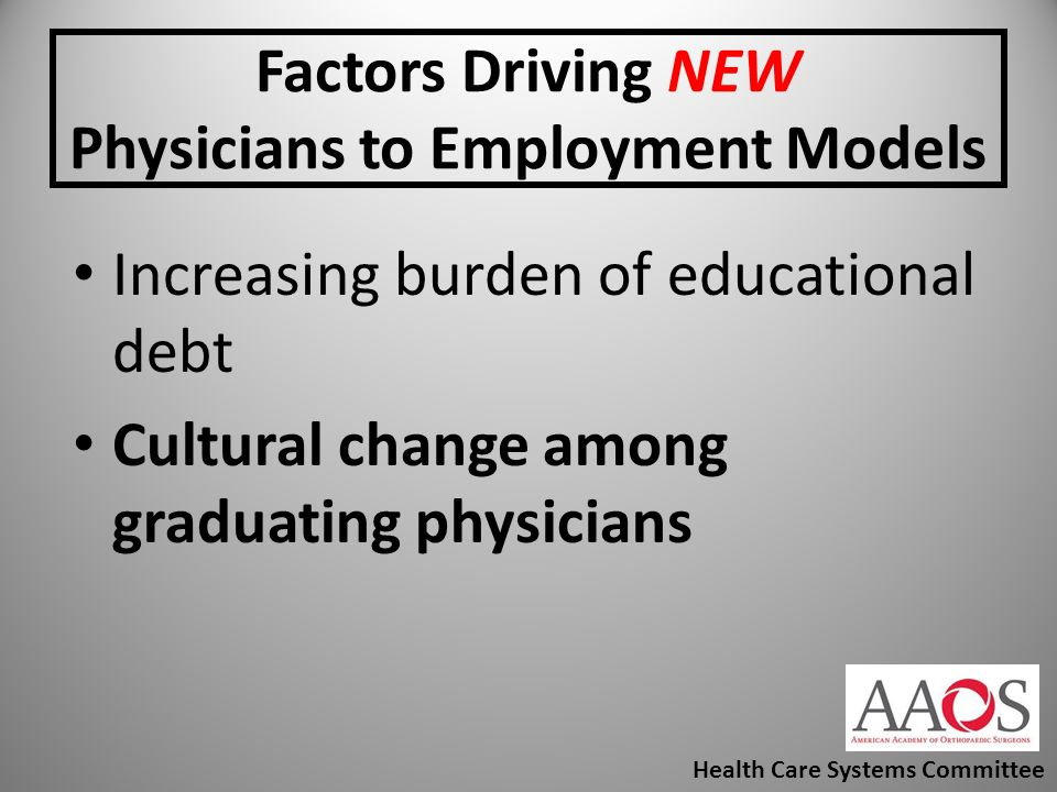 Factors Driving NEW Physicians to Employment Models