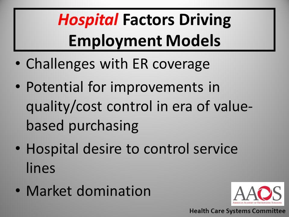 Hospital Factors Driving Employment Models