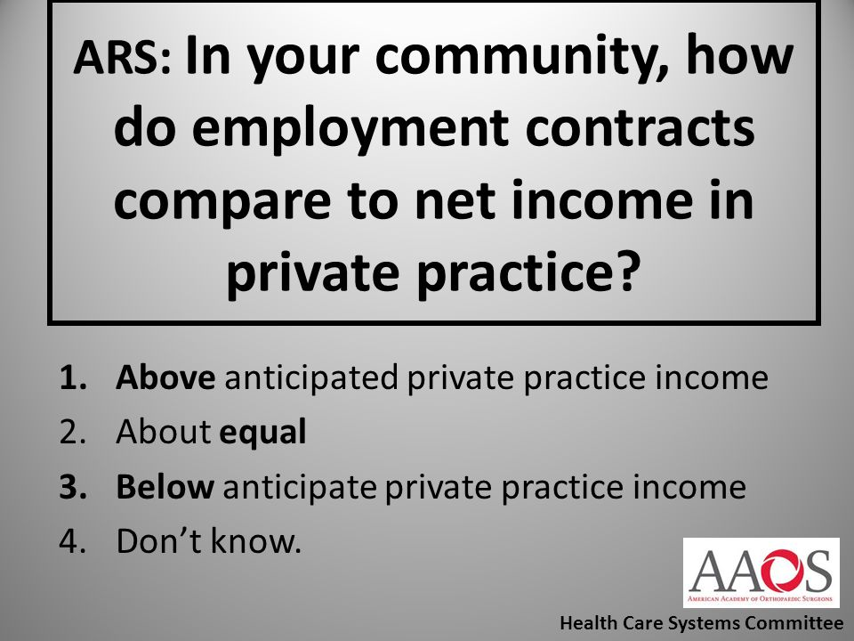 ARS: In your community, how do employment contracts compare to net income in private practice