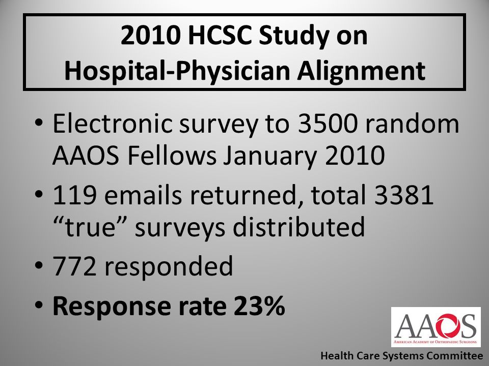 2010 HCSC Study on Hospital-Physician Alignment