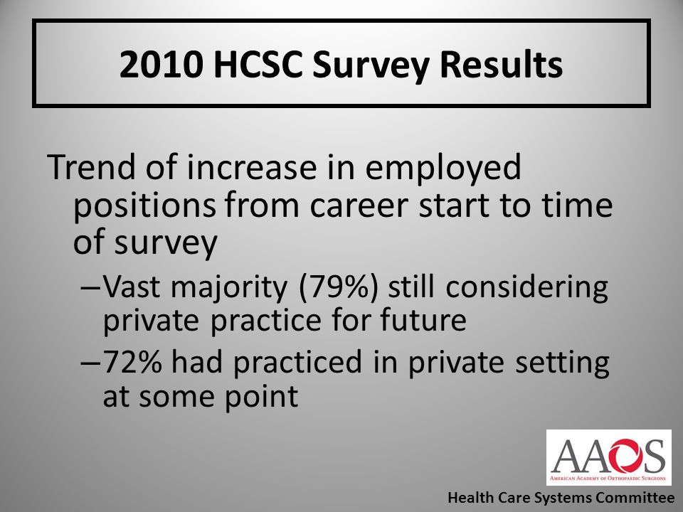2010 HCSC Survey Results Trend of increase in employed positions from career start to time of survey.