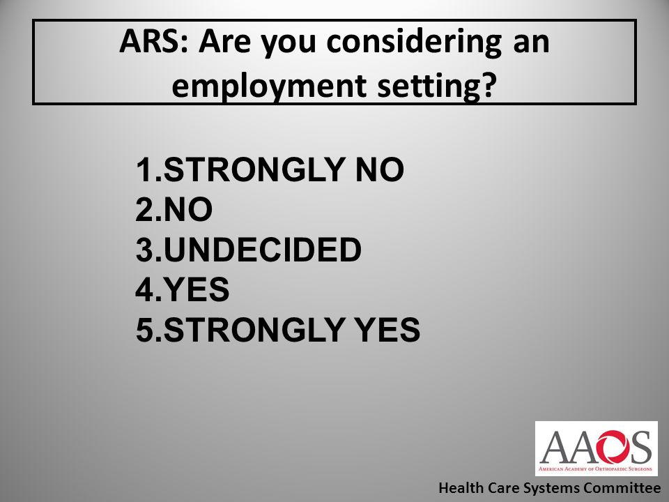 ARS: Are you considering an employment setting