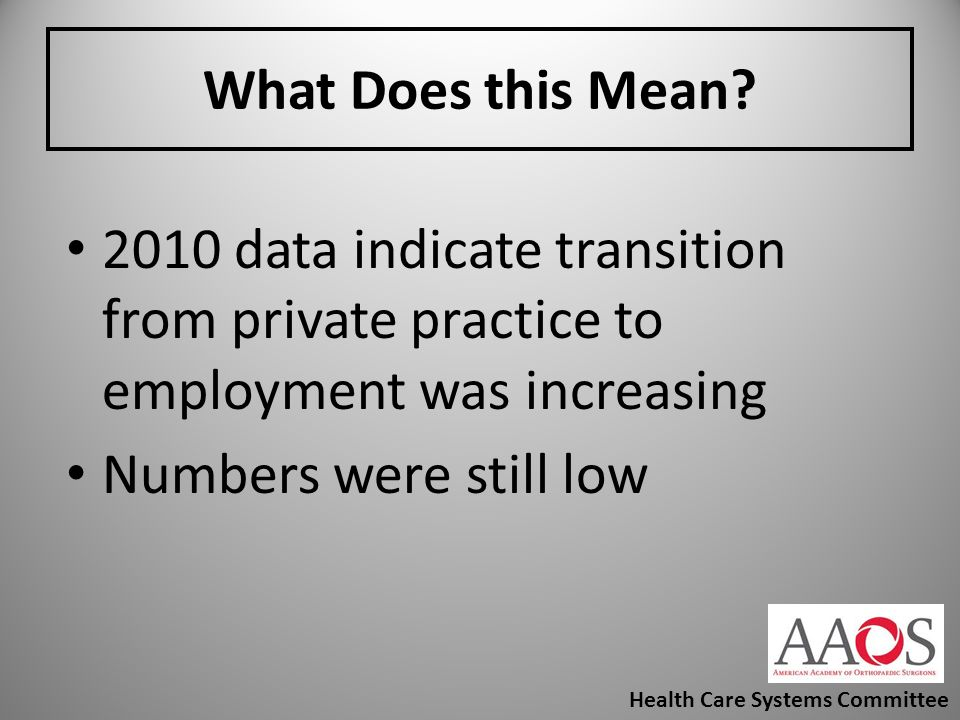What Does this Mean 2010 data indicate transition from private practice to employment was increasing.