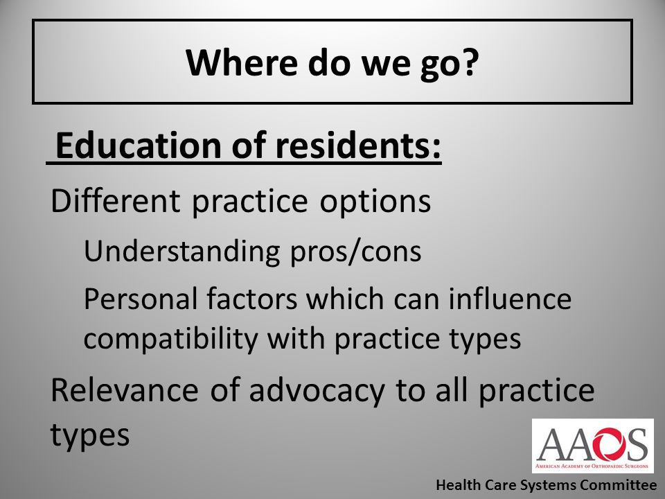 Education of residents: