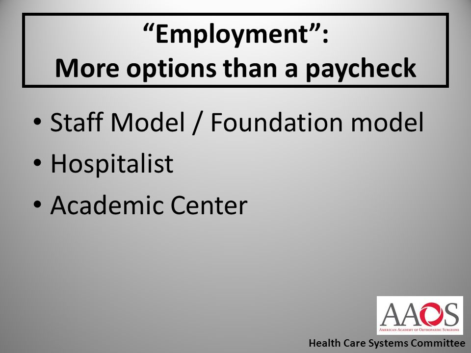 Employment : More options than a paycheck