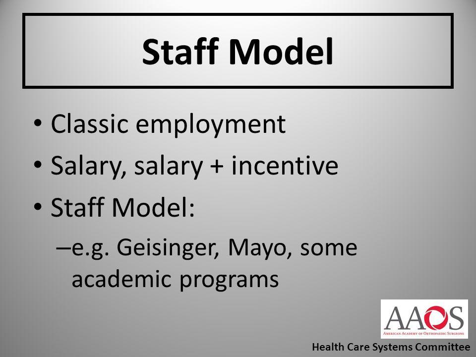 Staff Model Classic employment Salary, salary + incentive Staff Model:
