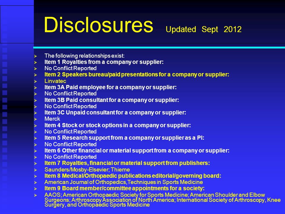 Disclosures Updated Sept 2012