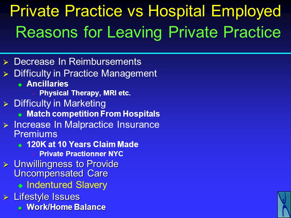 Private Practice vs Hospital Employed Reasons for Leaving Private Practice