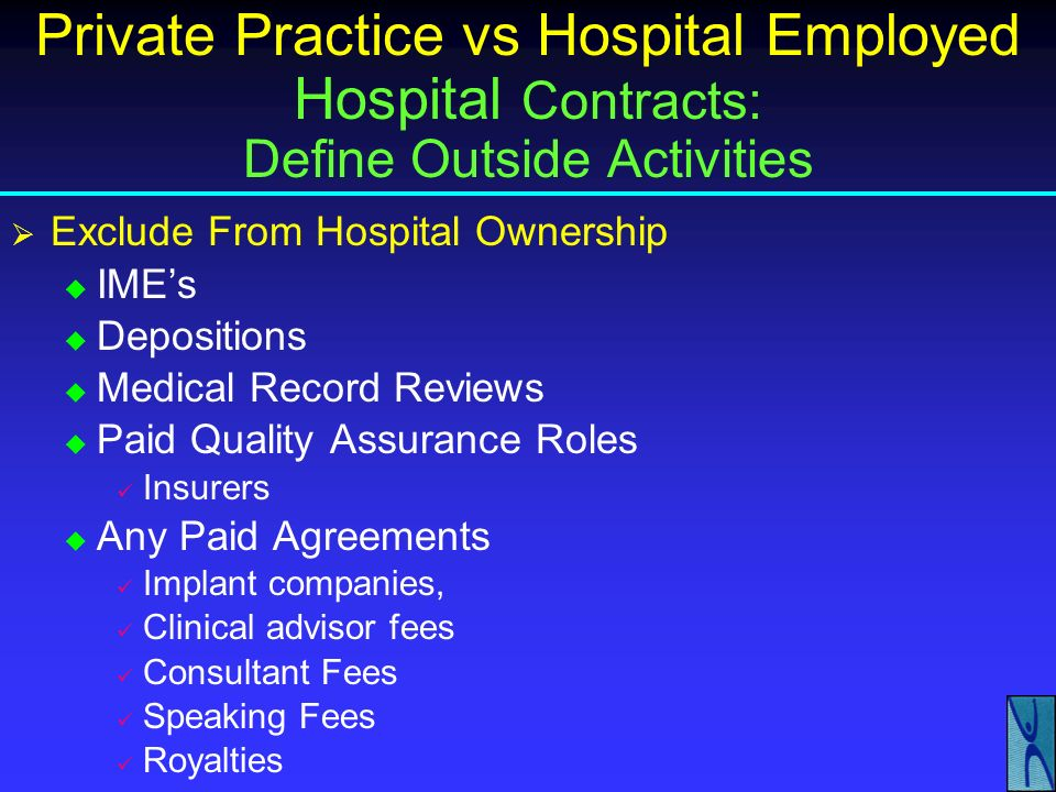 Private Practice vs Hospital Employed Hospital Contracts: Define Outside Activities