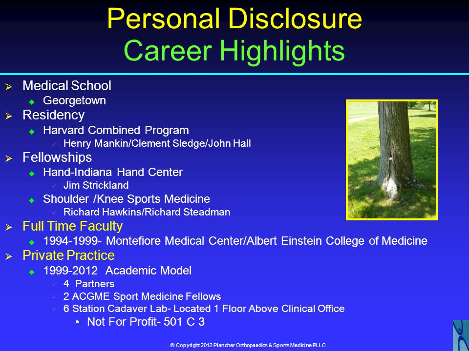Personal Disclosure Career Highlights