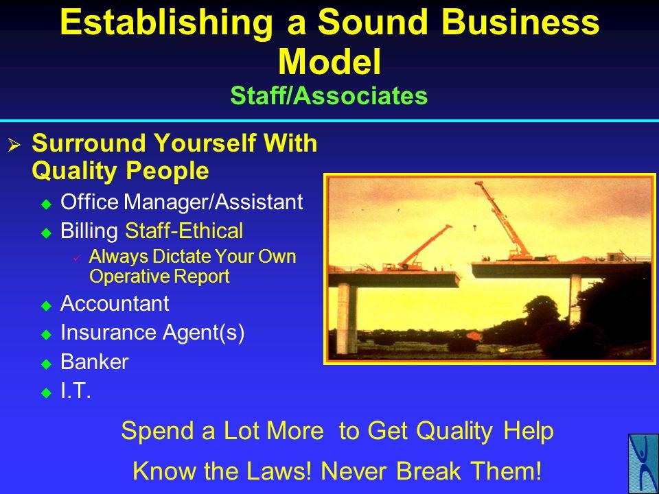 Establishing a Sound Business Model Staff/Associates