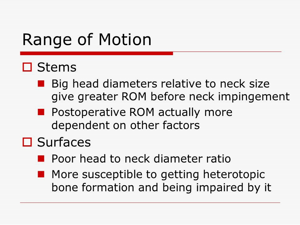 Range of Motion Stems Surfaces