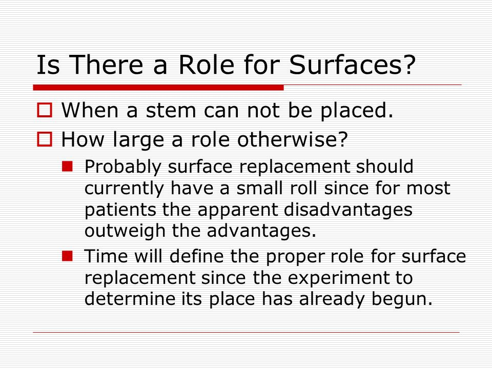 Is There a Role for Surfaces