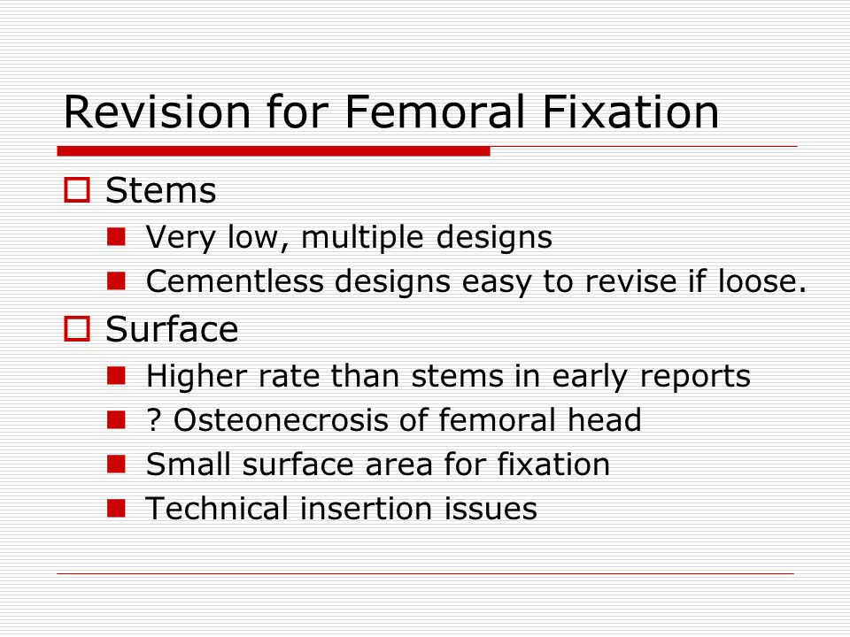 Revision for Femoral Fixation