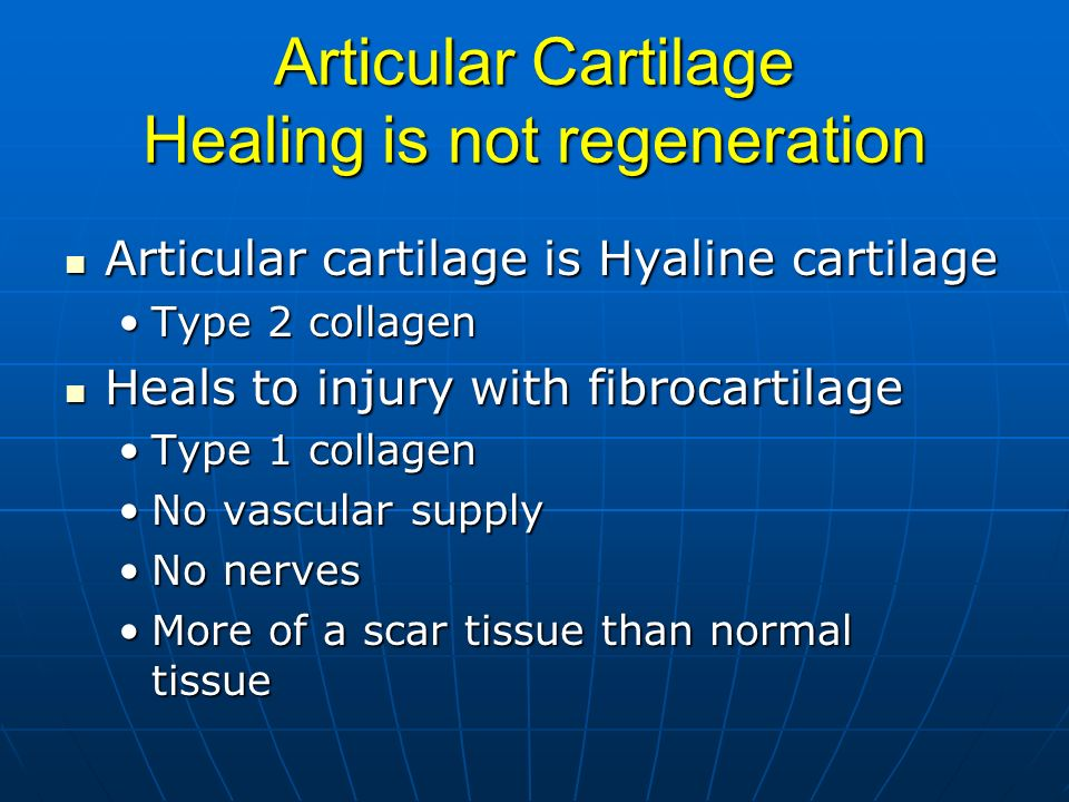 Articular Cartilage Healing is not regeneration