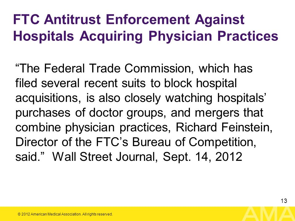 FTC Antitrust Enforcement Against Hospitals Acquiring Physician Practices