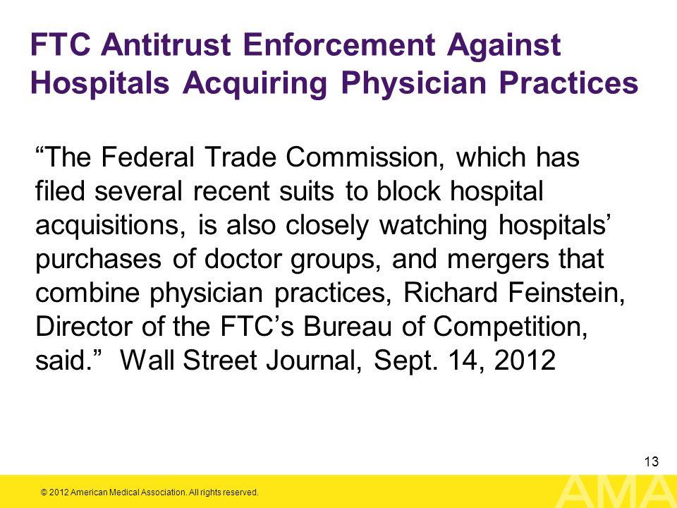 FTC Antitrust Enforcement Against Hospitals Acquiring Physician Practices