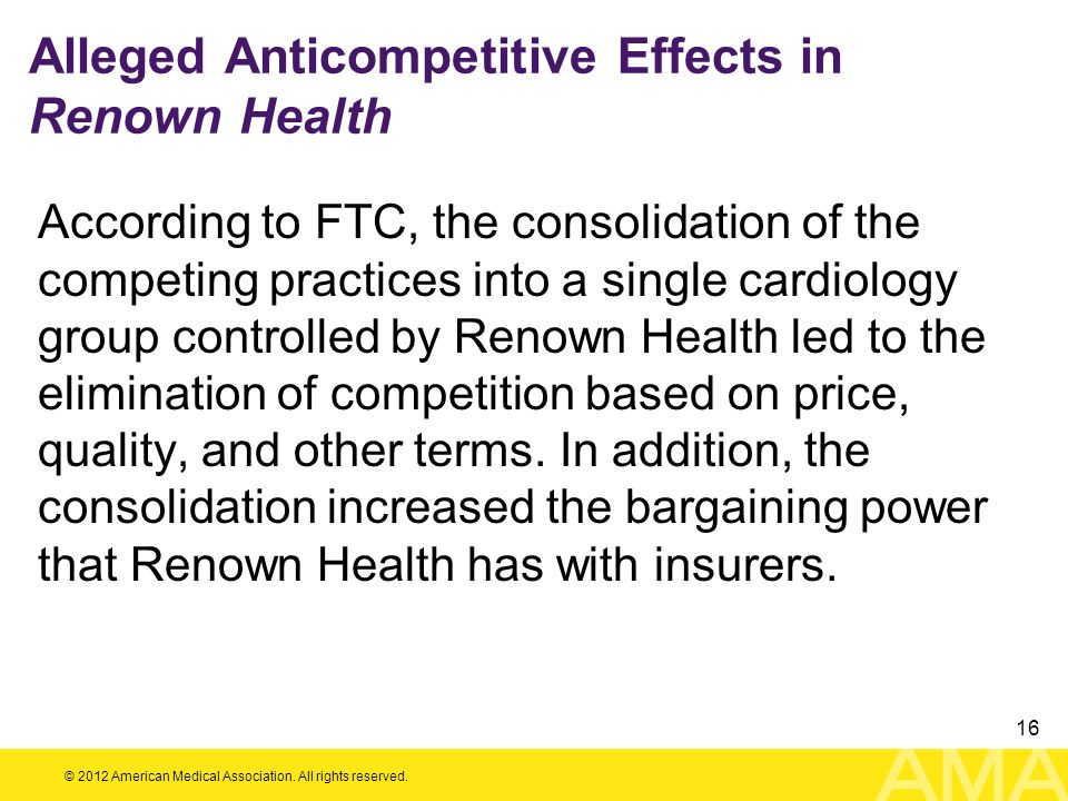 Alleged Anticompetitive Effects in Renown Health