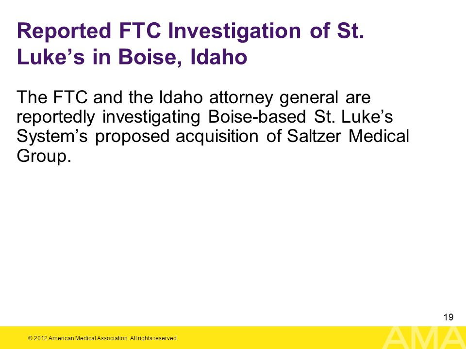 Reported FTC Investigation of St. Luke's in Boise, Idaho