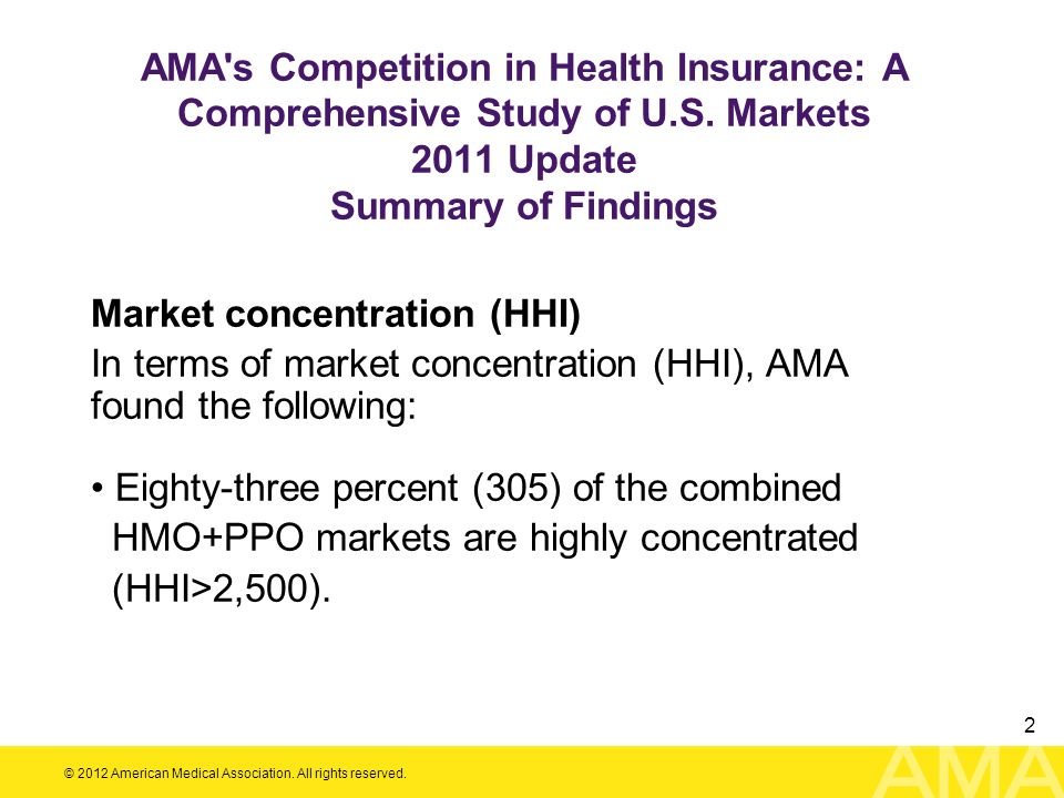 AMA s Competition in Health Insurance: A Comprehensive Study of U. S