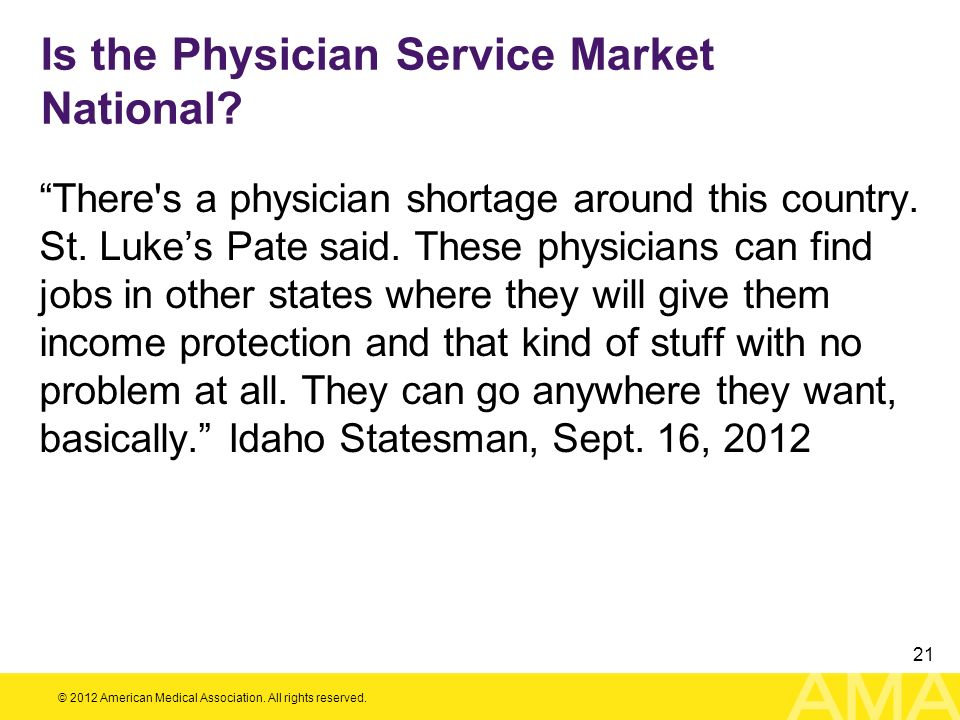 Is the Physician Service Market National