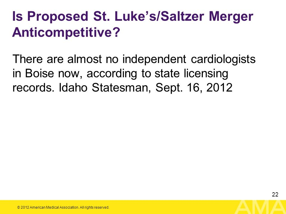 Is Proposed St. Luke's/Saltzer Merger Anticompetitive