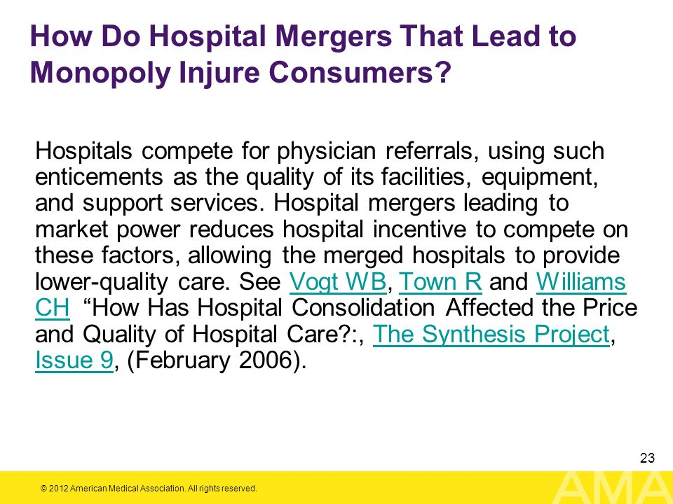 How Do Hospital Mergers That Lead to Monopoly Injure Consumers