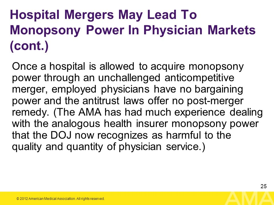 Hospital Mergers May Lead To Monopsony Power In Physician Markets (cont.)