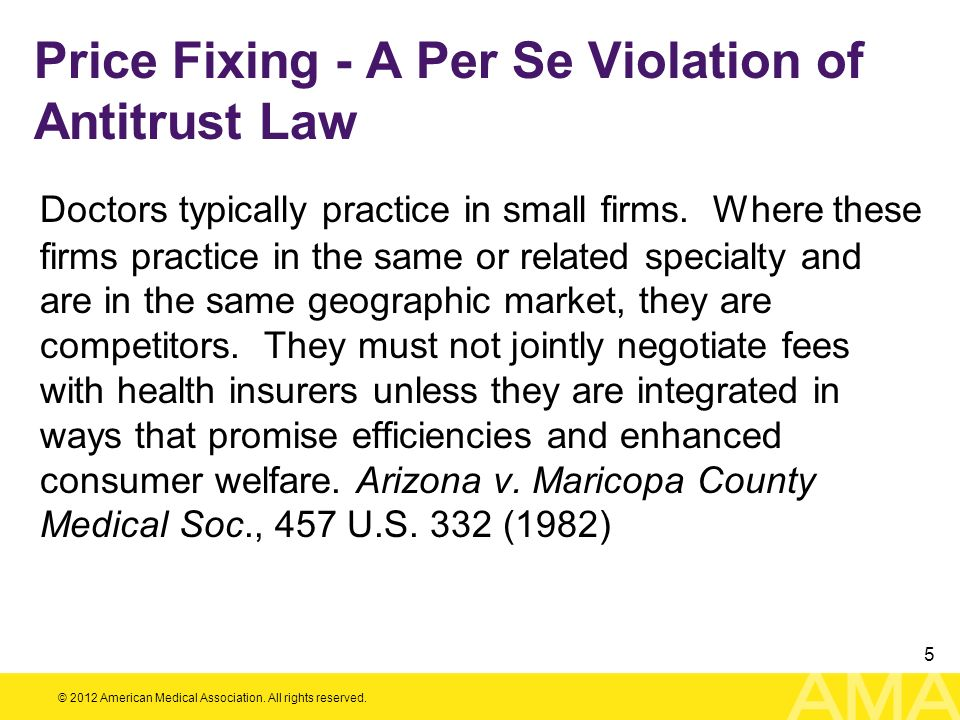 Price Fixing - A Per Se Violation of Antitrust Law