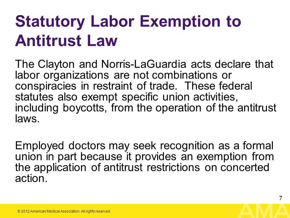 Statutory Labor Exemption to Antitrust Law