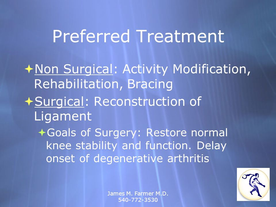 Preferred Treatment Non Surgical: Activity Modification, Rehabilitation, Bracing. Surgical: Reconstruction of Ligament.