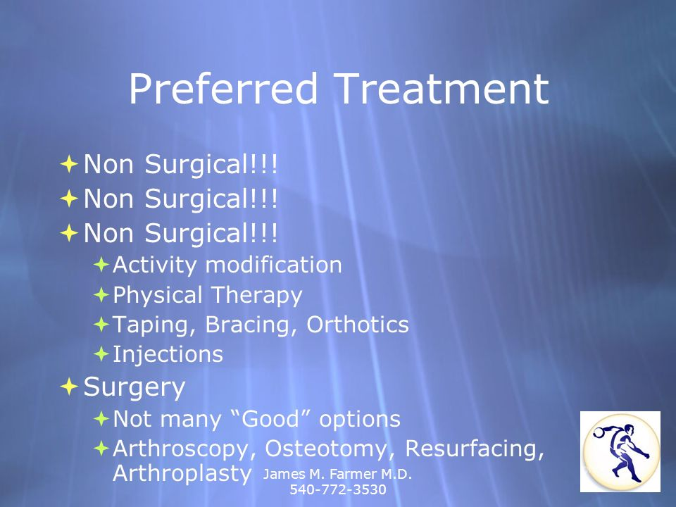 Preferred Treatment Non Surgical!!! Surgery Activity modification